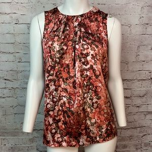 Anne Klein pink brown sateen shell top Size M